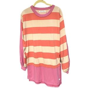 Free People Womens Pink Orange Striped Quarry Combo Tunic Top Size XS